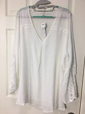 NWT Spense Woman Plus Sz 1X Off White Ivory V Neck LS Blouse Top - Tiny Hole