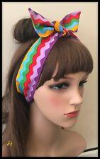 Zig Zag Rainbow Multicoloured Headband Bandana Hairband Multicolour Fabric Dress