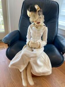"Boudoir Artist OOAK Vtg Doll Sits 33"" Grand Dame Joan Crawford Drag Queen Goth"