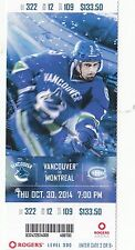 2014 VANCOUVER CANUCKS VS MONTREAL CANADIANS UNUSED TICKET STUB 10/30 HAMHUIS