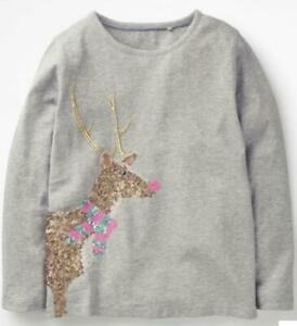 Girl's Reindeer Sequin Holiday Christmas T-shirt, Grey