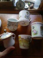 Lot 5 Childs Baby Cups Victorian, Beatrix Potter, Royal Worcester, Boy Blue