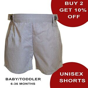 Boys Girls Unisex Baby Toddler Grey Gingham Shorts 100% Cotton Short Bottoms