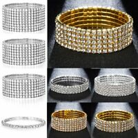 Fashion Rhinestone Stretch Bracelet Bangle Wristband Wedding Bridal Jewelry Gift