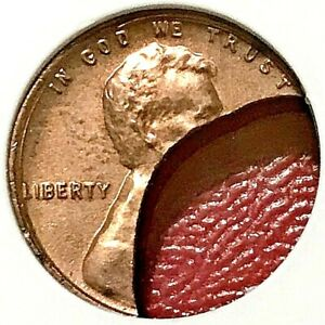 45% CURVED CLIP ERROR! LINCOLN MEMORIAL CENT NGC MS-64 RED