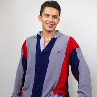Tommy Hilfiger Striped Long Sleeve Rugby Blue Red Shirt Medium #3Z #DP