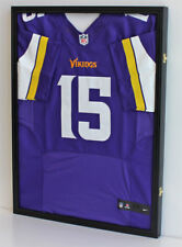 LOCKABLE Football Baseball Basketball Jersey Display Case Shadow Box, BLACK