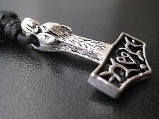Thor s Hammer Wolf Anhänger Weissmetall + Stoffband Wikinger / SM 015