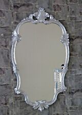Baroque Wall Mirror Silver Oval 99x55 Antique Hairdressing C410