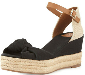 TORY BURCH KNOTTED BOW BLACK TAN MID WEDGE ESPADRILLES SANDALS US 8 I LOVE SHOES