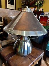 Contemporary, Brushed Steel, Bean Pot Table Lamp with Mica Shade.