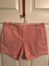 J. Crew Womens City Fit Coral Seersucker Shorts. NWOT! Size 4.