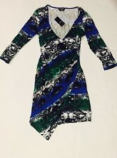 Bebe Raven Asymetric Dress Multi color Size Medium NWT NEW