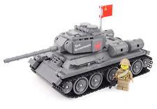 WW2 Custom Panzer T-34/85 und russischer Soldat + Zubehör, aus LEGO® Steinen
