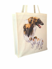 Borzoi Reusable Cotton Shopping Tote Bag with Gusset & Long Handles Perfect Gift