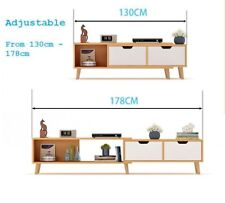 130 - 178 cm Adjustable TV Stand Entertainment Unit Cabinet with Coffee Table