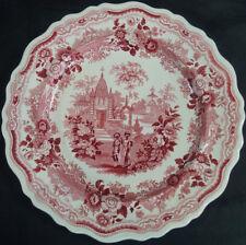 """Set of 4 William Adams Indian Warriors Red Transferware 10 1/2"""" Plates C. 1830"""