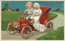 Paul Finkenrath PFB Series 7318 Babies Antique Car Automobile Embossed Postcard