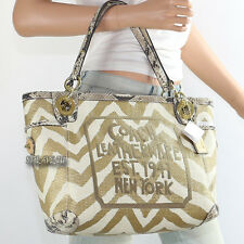 NWT Coach Zebra Animal Print Raffia Shoulder Bag Hand Bag Tote 14843 New RARE