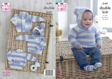 King Cole Double Knitting Pattern Baby Hooded or Round Neck Jumper & Jacket 5159