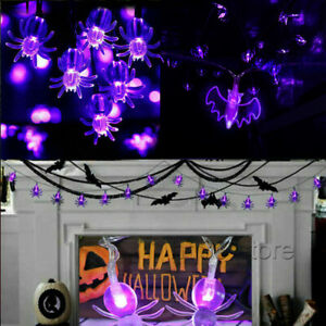 Halloween Fairy String Lights Decorations LED Spider Bat Scary Party Home Decor