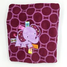 Taggies Purple Lilac Elephant Baby Blanket Circles Rings Dots