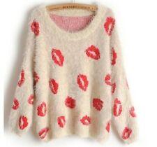 Women Mohair Jumper Knitted Fluffy Eyelash Sweater Pullover Knitwear Tops