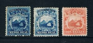 Costa Rica 1863 Arms issue ½ real (2) & 2 reales mint see note SG1-3 Mena 1,1A,2