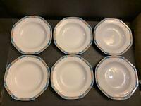 "Christopher Stuart Y0039 Paseo Fine China Set of 6 Soup Bowls 9.5"" Thailand"