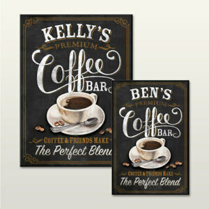 PERSONALISED CAFE KITCHEN COFFEE SIGN CHALKBOARD EFFECT WALL PLAQUE NOVELTY GIFT