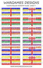 10 mm drapeaux-Tudor anglais INFANTERIE-Feuille 7-Pike & Shotte, baroque, DBR