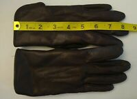 Women's Vintage Brown Leather Gloves Lined With Rabbit Fur Size Small Very soft