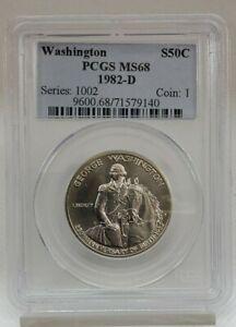 1982-D 50C Half Dollar George Washington 250th Anniv. Of Birth PCGS MS 68 140