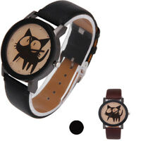 Fashion Cute Cat Quartz Watch Leather Band Crystal Black Pointer Teen Wristwatch