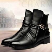 Men's Boots Leather High Top Ankle Shoes Retro Pointed Toe Dresses EUR 43