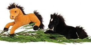 Plüschtier Pferd liegend ca 37 cm lang in Schwarz Kuscheltier Stofftier Softtier