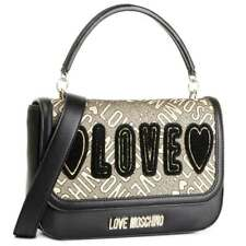 NEWT LOVE MOSCHINO JC4019PP18LB290A BLK ECOLEATHER GOLD JACQUARD SHOULDER BAG