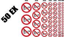 50 autocollants INTERDIT DE FUMER interdiction de fumer assortiment