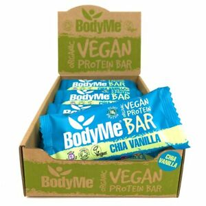 BodyMe Organic Vegan Protein Bar   Raw Chia Vanilla 12 x 60g Bars   16g Protein