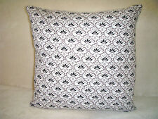 Handmade Flowers Pillow Cover Black White Gray Waverly Cotton Cottage