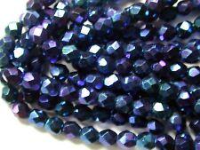 Vintage Blue Purple Carnival IRIS AB Facet 5mm Czech Glass Beads Lot of 300 pcs