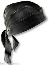 Moto de suave cuero de motorista Cabeza Wrap Negro Bandana PAC Motocicleta du-rag Biker