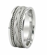 SOLID 14K WHITE GOLD MENS BRAIDED WEDDING BANDS HANDMADE WEDDING RINGS 8MM