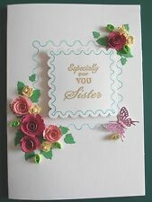 Personalised Handmade Luxury Birthday/AnniversaryCard.Quilled Roses multi colour