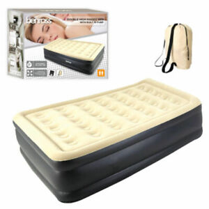 Double Airbed Built In Electric Pump Self Inflating High Rise Air Bed BeigeBlack