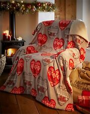 Christmas Sherpa Fleece Blanket Supersoft Throw BODEN Hearts 130CMS X 170CMS