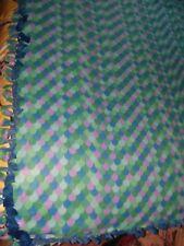 NEW WARM HANDMADE 2 layer fringe tie blanket/throw Sea Mermaid Scales 5' X 8'