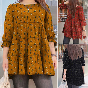 ZANZEA Women's Cotton Long Sleeve Printed T-Shirt Blouse Basic Tops Plus Size