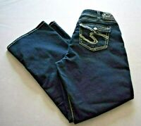 Buckle Silver Suki Flap Pocket Womens Bootcut Dark Jeans Size 14 Length 32