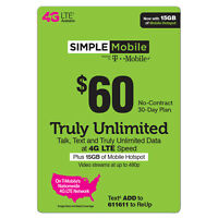 SIMPLE MOBILE SIM CARD FIRST MONTH Preloaded $60 UNLIMITED 4G LTE w 15gb Hotspot